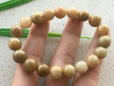Certified yellow brown natural A-grade jade Jadeite 10MM elastic bracelet 1665