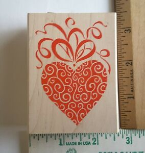 """All Night Media FANCY HEART Wood Mount Rubber Stamp #190H 3""""x2"""""""