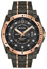 BULOVA MENS $895 BIG PRECISIONIST TWO-TONE DIAMONDS WATCH WR300M 98D149