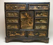 Rare Charming Late 18th Century English Chinese Lacquer Work Table Cabinet. 19th