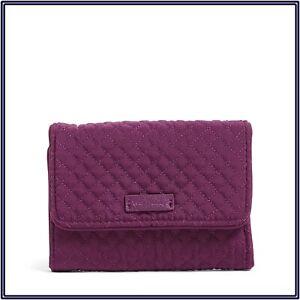 NWT Vera Bradley RFID Riley Compact Wallet Trifold in Gloxinia Purple Microfiber