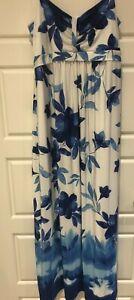 Kaleidoscope Blue & White Maxi Dress Size 14 Fully Lined Summer Holiday