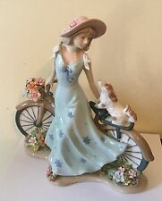 "Lladro Style like ""Girl with Bicycle, Dog, & Flowers"" Exquisite Rare Stunning!"