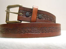 New Heavy Duty Cowhide Leather Belt Brown with Tooling Any Size 28 - 48
