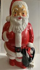 """Vintage 1968 Empire SANTA Blow Mold 13"""" With Toy Bag Standing Plastic"""