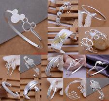 New Wholesale Fashion 925 Silver Bracelet Womens Lady Bangle + Gift Box