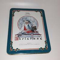 Norman Rockwell Vintage Commemorative Handkerchief Tin Santa Christmas 1920