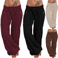 Womens Elastic Waist Long Pants Indian Wide Leg Loose Full Length Trousers S-5XL