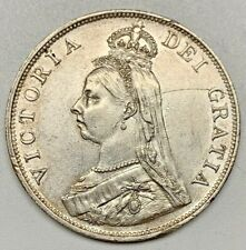 1890 Great Britain Double Florin XF Detail KM 763 Silver Queen Victoria Coin