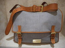 Mulberry Net A Porter Nautical Taylor Leather Blue White Striped Fabric Satchel
