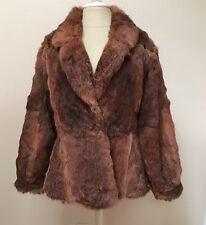 Authentic Rabbit Fur Short Car Coat Jacket Reddish Brown Women's Size S