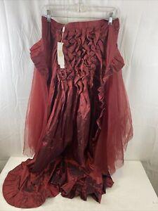 Belle Poque Women's Steampunk Gothic Wrap Skirt Victorian Ruffles Pirate Skirt,L