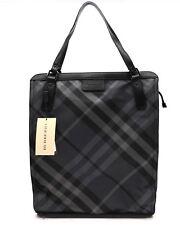 Burberry Tote Buckleigh Nylon Shoulder Bag Shopper Charcoal Nova Check NWT