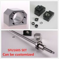 Ball Screw SFU1605 RM1605 End Machined & BK/BF12 + Ballscrew Nut Housing Set