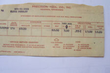 ELVIS PRESLEY ELVIS PAYROLL STUB FROM PRECISION TOOL CO.