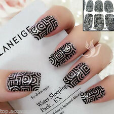 3D Sparkly Black Pattern Nail Art Wrap Full Cover Stickers #06065 Free P&P