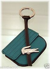 New Authentic LACOSTE KEYRING KEY FOB Bag Charm Croco Lite L22.2 Turquoise