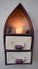 Small Ceramic Gothic Arch Wall Hanging Drawers Ethnic Style Purple and Cream