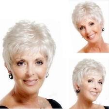 NEW Women's  Short silver curly Natural Lady Hair Full Wigs/wig