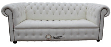 Chesterfield Diamante Crystal 3 Seater Button Seat White Leather Sofa Settee