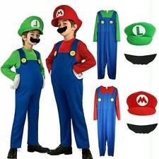 Kids Boys Girls Super Mario Luigi Halloween Fancy Dress Costume Party Outfits