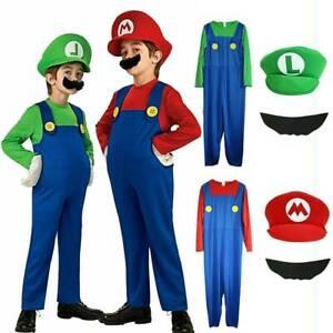 Kids Boys Girls Super Mario Luigi Fancy Dress Party Cosplay Children Outfits Set