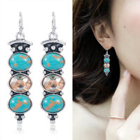 925 Silver Boho Tibetan Turquoise Dangle Drop Hook Earring Vintage Women