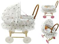 Doll Wicker Buggy /Pram / Dolls Buggy/Pram/ Stroller/ Natural wicker WHITE STARS