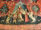 """Unicorn medieval stale antique  wall tapestry France authentic  65"""" by 55"""""""