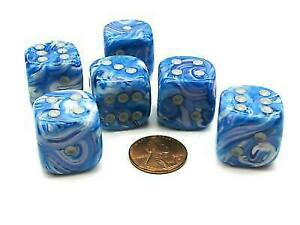 Mother Of Pearl 20mm Big D6 Chessex Dice, 6 Pieces Blue With Silver Pips