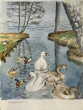 Karl Adser 1912-1995 Schwäne und Enten im Park Kanal Höckerschwan Stockente