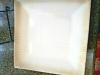 4 Plates ~ Pier 1 One Imports ~ Embossed Cream Pattern Large Square Dinner Plate