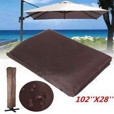 260x70CM Brown Waterproof Garden Patio Parasol Umbrella Outdoor Canopy Protectiv