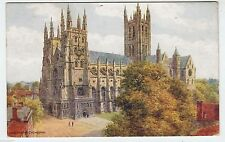 A R QUINTON #2715 - Canterbury Cathedral - Kent Art - 1937 used postcard