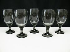 """Libbey Classic Smoke SET OF 5 GLASSES 16oz Water Goblets 7"""" Tall"""