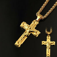 18K Gold Plated Pendant Cool Jesus Christ Cross Necklace Hip Hop Chain Necklace