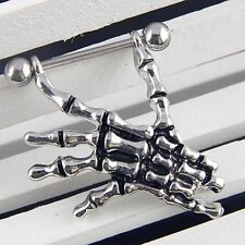 14G Skeleton Skull Hand Bar Barbell Nipple Shield Ring Punk Body Piercing Charm