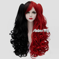 Halloween Lolita Red Mixed Black Long 75CM Curly Cosplay Wig + 2 Ponytails