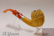 PULL/PUSH TENON SILVER RING AND RIM FLORAL MEERSCHAUM SMOKING PIPE BY H.YAVUZ