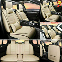 Beige PU Leather 5-Seats Car Seat Covers All Season Front Rear Seat Cushion Set