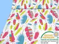 Baumwollstoff mit bunten Federn Kinderstoff weiß bunt Meterware Baumwolle