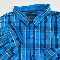 Royal Blue Button Up Shirt Mens 4XL Blue Plaid Long Sleeve Casual