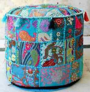 """INDIAN OTTOMAN POUF COVER 18X18"""" VINTAGE HANDMADE TURQUOISE PATCHWORK FOOTSTOOL"""