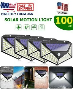 100 LED Waterproof Solar Power PIR Motion Sensor Wall Light Outdoor Garden Lamp