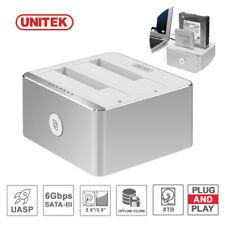 "UNITEK USB 3.0 to SATA Dual Bay External 3.5"" Clone Hard Drive Docking Station"