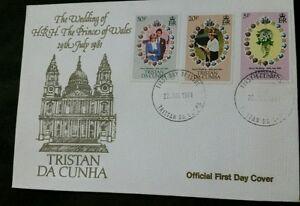 Tristan da Cunha 1981 Royal Wedding (Charles & Diana) set on official FDC