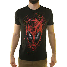 Marvel Deadpool Face Men's Black T-shirt NEW Size S