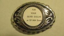 Vintage NOS oval Silver & black Belt Buckle blank with 39mm round bezel mount