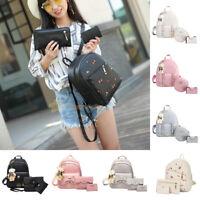 3pcs Women Backpack Travel PU Leather Handbag Rucksack Shoulder School Bag LOT