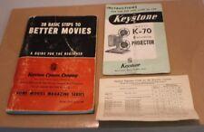 28 BASIC STEPS TO BETTER MOVIES 1050 Vintage keystone k-70 projector instruction